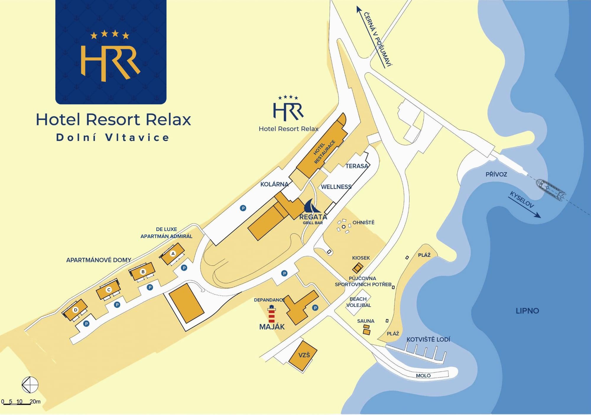Mapa areálu Hotel resort Relax